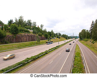 Two line, wide road with curve, highway