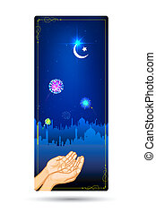 Eid Prayer - illustration of praying hand in front of mosque...