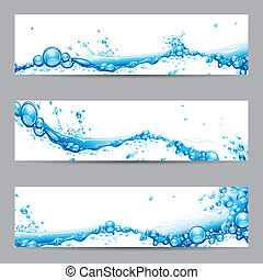 Water Splash Banner - illustration of set of banner with...