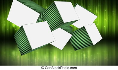 Blank cubes against green light bac - Animation of blank...