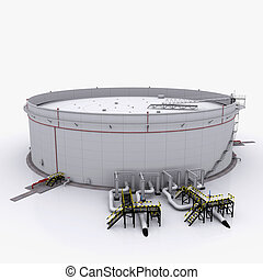 Large oil tank with floating roof Isolated on white...