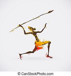 afrikansk, jägare, Stam, vektor, Illustration,...