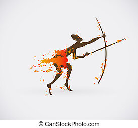 African Hunter Tribal Vector Illustration. Traditional Culture Creative Symbol.
