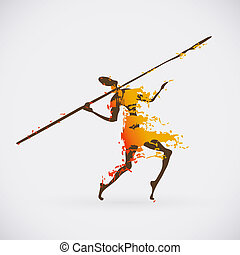Colorful Vector Illustration of Traditional Ritual Dance....