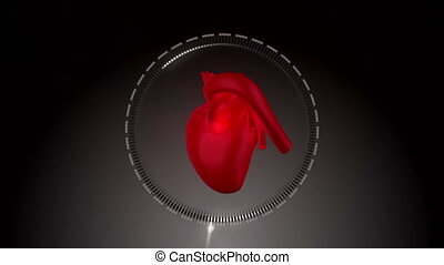 Animation with a heart beating next to a empty frame against...