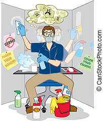 Obsessive Compulsive Fear of Germs - Vector Illustration of...