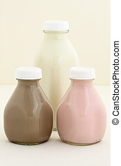 Fresh Strawberry, Chocolate and regular Milk Bottles -...