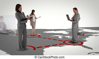 International business networking w - Animation with...
