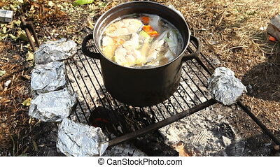 Russian fish soup on fire 2 - Russian fish soup on fire, 2...