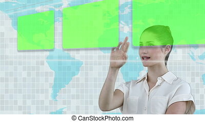 Woman displacing images with a blue - Animation of a woman...