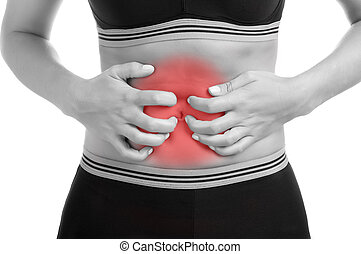 Stomach Ache - Woman suffering from stomach pain. Black and...