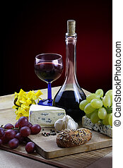 Wine and cheese - Romantic dinner with cheese, wine, grapes...