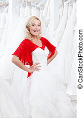 Trying a wedding dress on