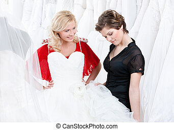 Thinking over a wedding gown