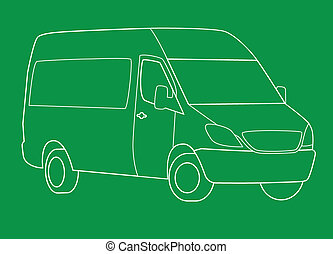 Delivery van line illustration on green background.
