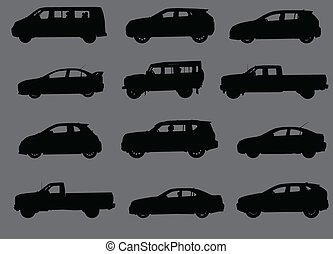 Various city cars silhouettes isolated on grey background.
