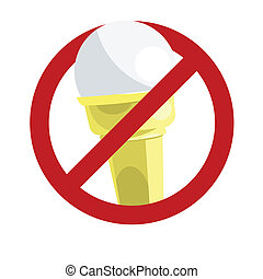 No ice-cream sign isolated on white. Vector illustration with simple colors.