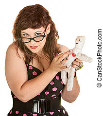 Woman With Glasses and Voodoo Doll - Pretty woman in pink...