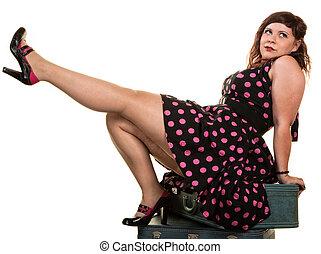 flirtacious, mujer, actuación, de, ella, pierna