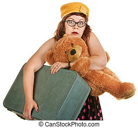 Tense Young Woman with Suitcase - Tense young woman with toy...