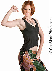 Confident Fit Woman - Fit young woman points to her self...