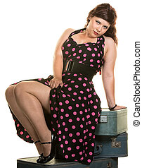 Woman Showing Off Her Legs - Sexy woman on suitcases showing...