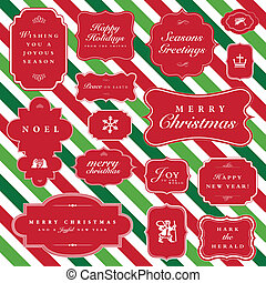 Vector Striped Christmas Frame Set