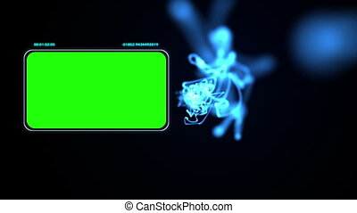Chroma key screens with blue light