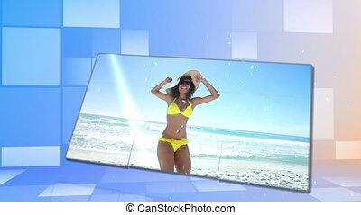 Woman in bikini dancing on the beac