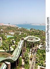 DUBAI, UAE - AUGUST 28: The Aquaventure waterpark of Atlantis the Palm hotel on August 28, 2009 in Dubai, UAE. It is located on a man-made island Palm Jumeirah.
