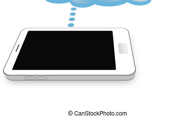 Cloud connected with smartphone - Animation with a cloud...