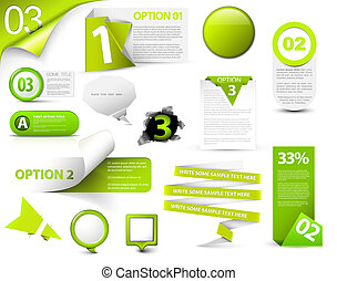 Set of green vector progress icons