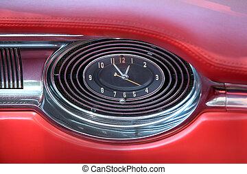 Antique clock in car dash