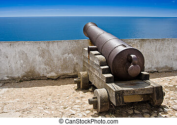 old cannon - Old fashioned sea cannon aimed at sea in...