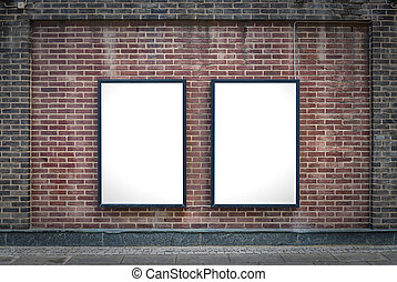 Two blank boards - Two blank billboards attached to a...
