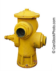 Antique Yellow Fire Hydrant isolated with clipping path...