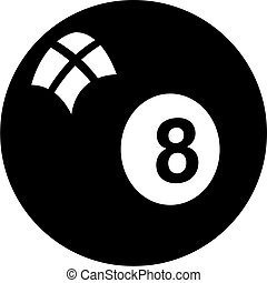 eightball - isolated black and white graphic of a eightball