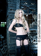 erotic image - Beautiful lonely woman in the old house.