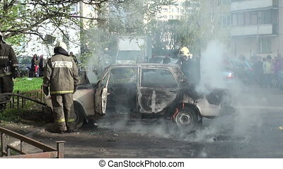 The burning car, extinguishing of burning car.