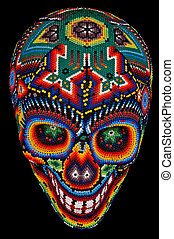 Beaded skull isolated on black - Colorful Beaded Skull from...