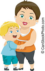 Grandma and Grandson - Illustration Featuring a Grandma and...
