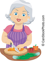 Senior Slicing Veggies - Illustration Featuring an Elderly...