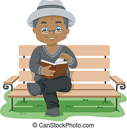 Senior Reading - Illustration Featuring an Elderly Man...