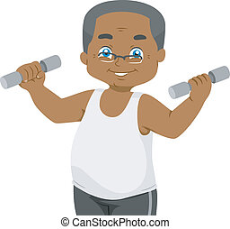 Senior Weightlifting - Illustration Featuring an Elderly Man...