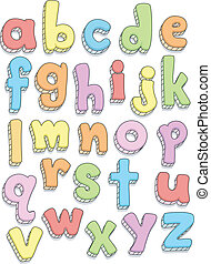 Alphabet Doodles - Doodle Illustration Featuring the Small...