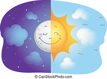 Sun and Moon - Illustration of a Split-screen Showing the...