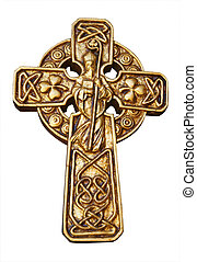 Gold St Patrick\\\'s Cross - Celtic Cross with st Patrick &...