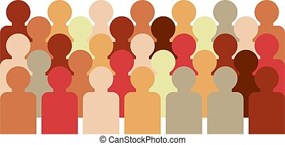 crowd of faceless people with different skin tones