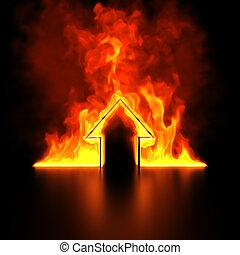 Burning house shape concept 3d render
