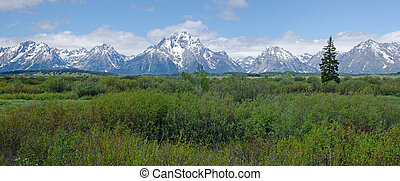 Grand Teton National Park, Wyoming, USA - Scenic panorama of...